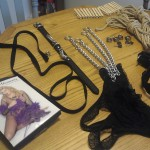 Kinky toys: fishnet body stocking, leash, collar, chains, clothespins, locks, rope, cuffs and crotchless panties.